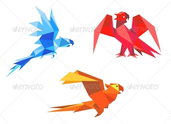 Origami parrots - Animals Characters