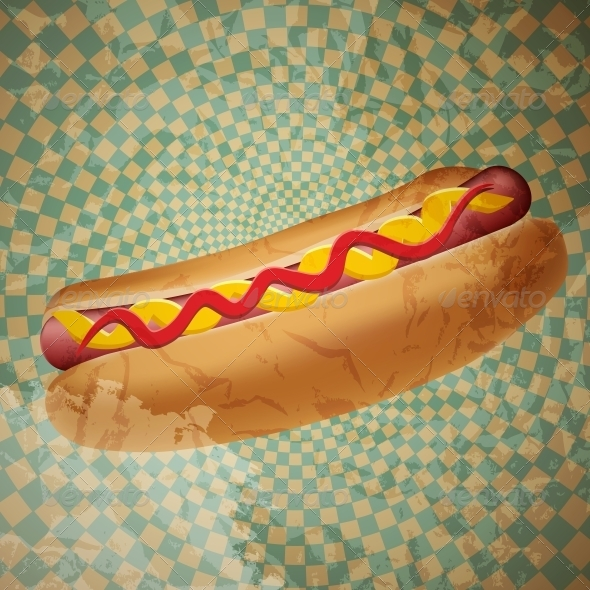 Realistic Hot Dog Vector Illustration - Food Objects