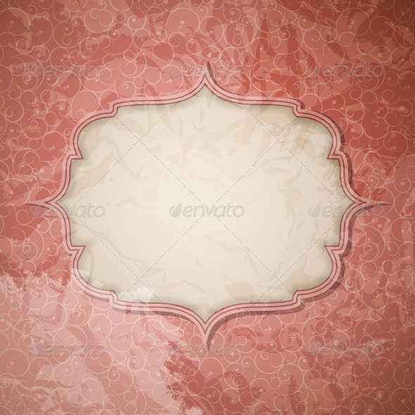 Frame in  retro vintage seamless background. Vecto - Miscellaneous Vectors