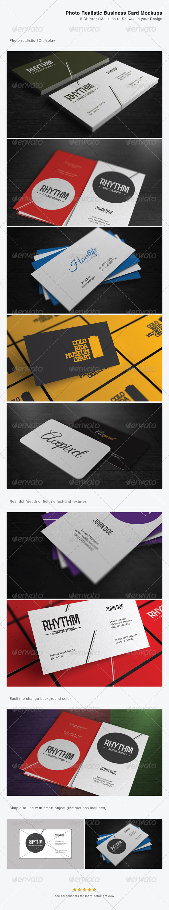 Photo Realistic Business Card Mockups - Print Product Mock-Ups