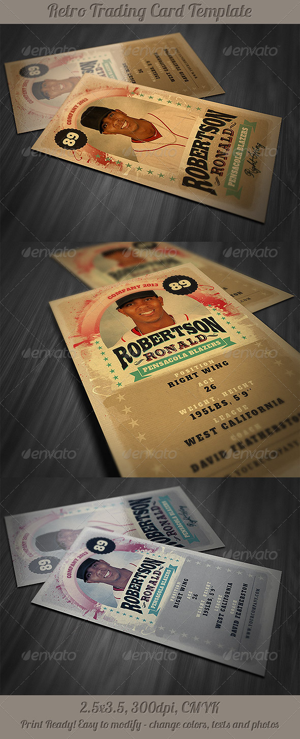 Retro Trading Card Template - Miscellaneous Print Templates