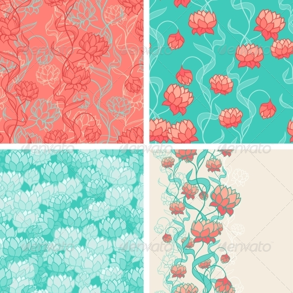 Seamless Patterns with Abstract Flowers. - Flowers & Plants Nature