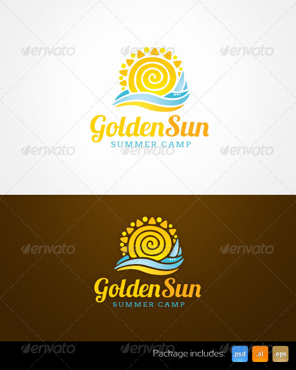 Golden Sun Summer Camp Resort Logo Template - Nature Logo Templates