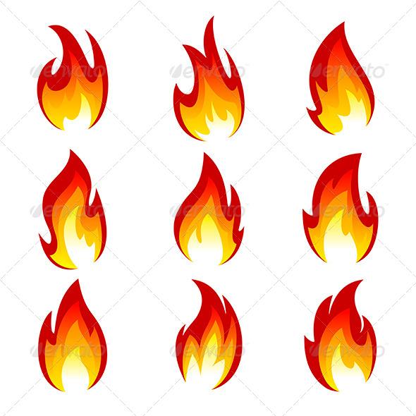Set of Flame - Decorative Symbols Decorative