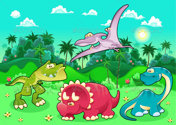 Dinosaurs in the Forest - Animals Characters