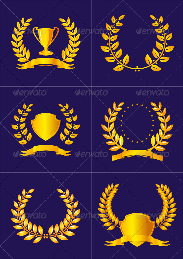 Laurel Wreaths with Ribbons and Shields - Decorative Symbols Decorative