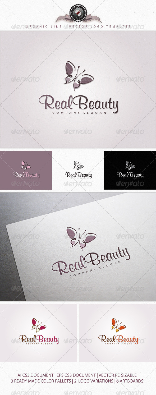 Organic Butterfly Logo Template - Logo Templates