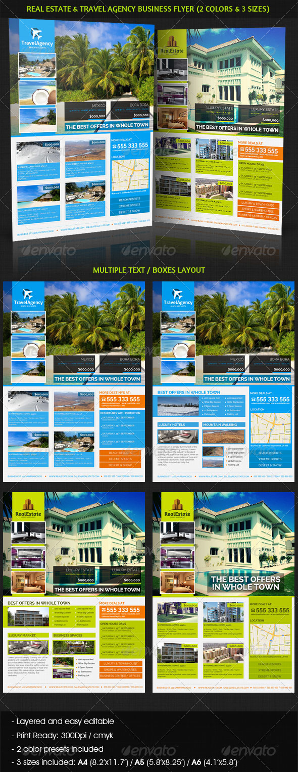 Real Estate & Travel Agency Business Flyer - Commerce Flyers
