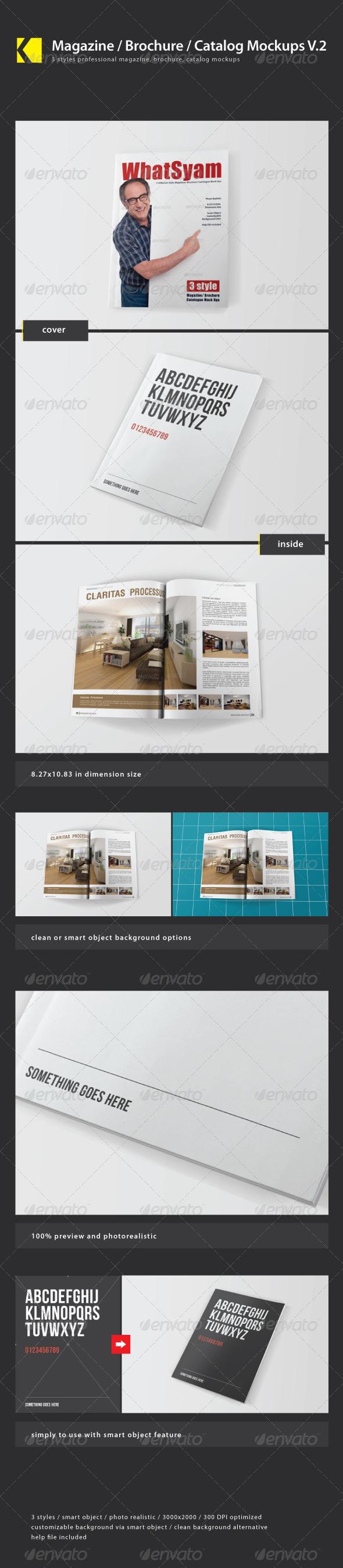 Magazine / Brochure / Catalog Mockups V.2 - Print Product Mock-Ups