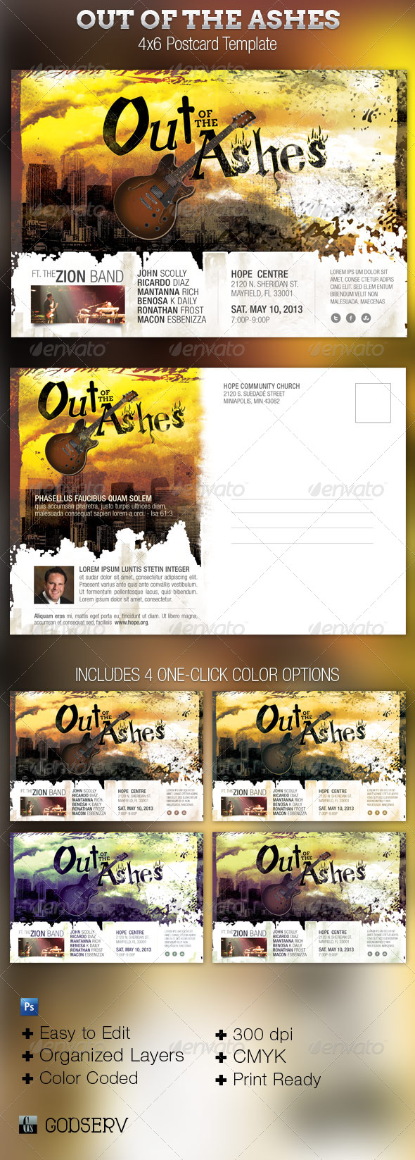Ashes Church Concert Postcard Flyer Template - Church Flyers