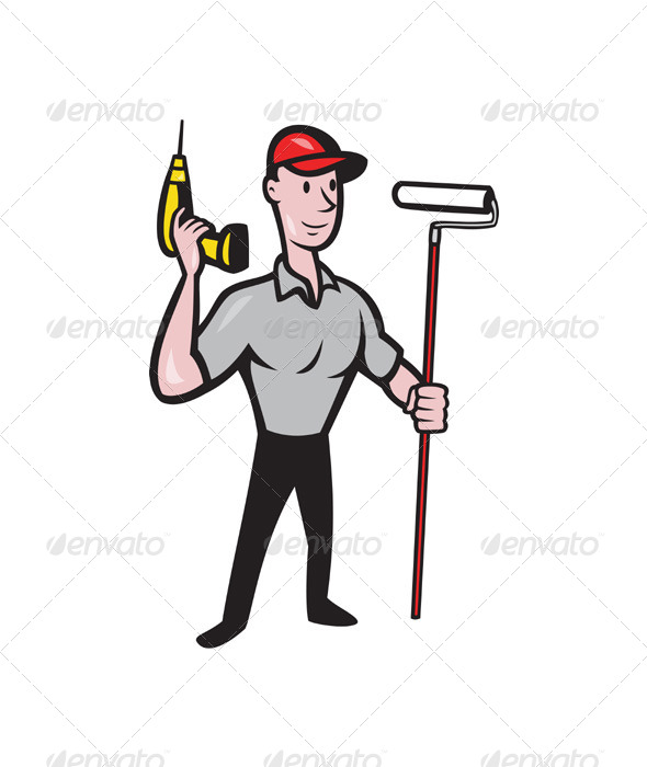 House Painter with Painting Roller Paint Can - People Characters