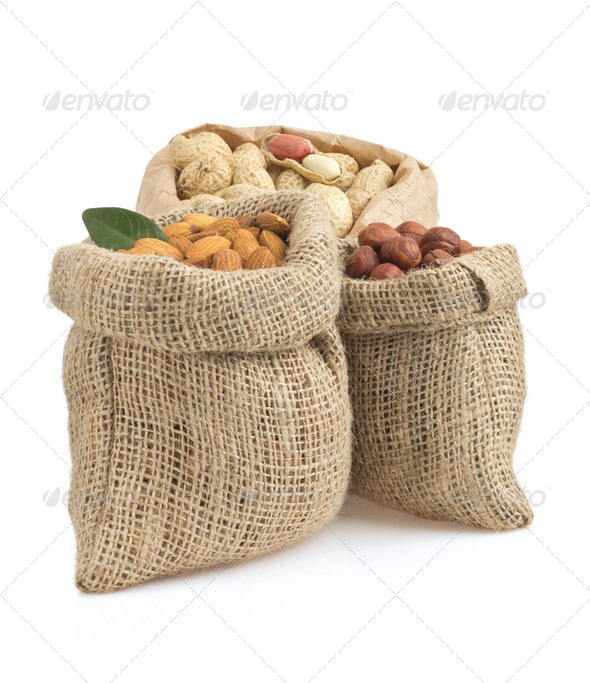 set of lnuts isolated on whit - Stock Photo - Images