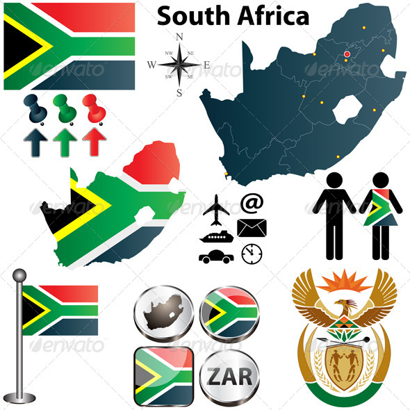 South Africa Map with Regions - Travel Conceptual