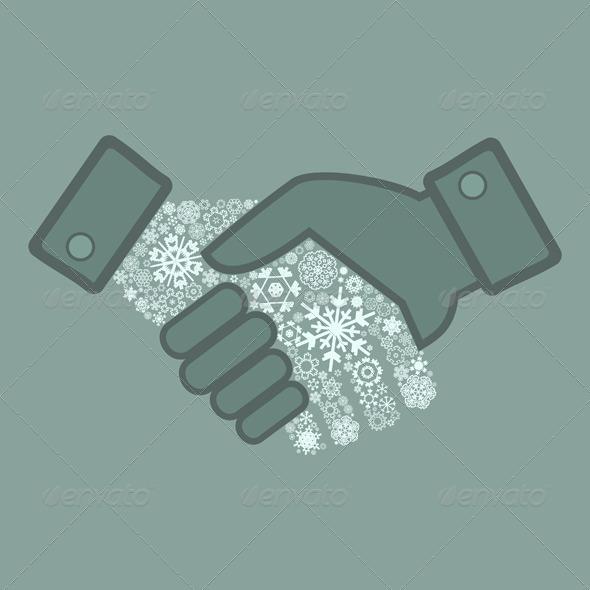 Snowflake Hand Shake - People Characters