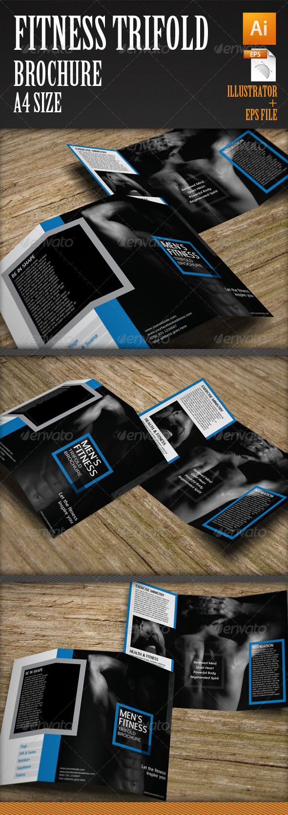 Men's Fitness Trifold Brochure Template - Corporate Brochures