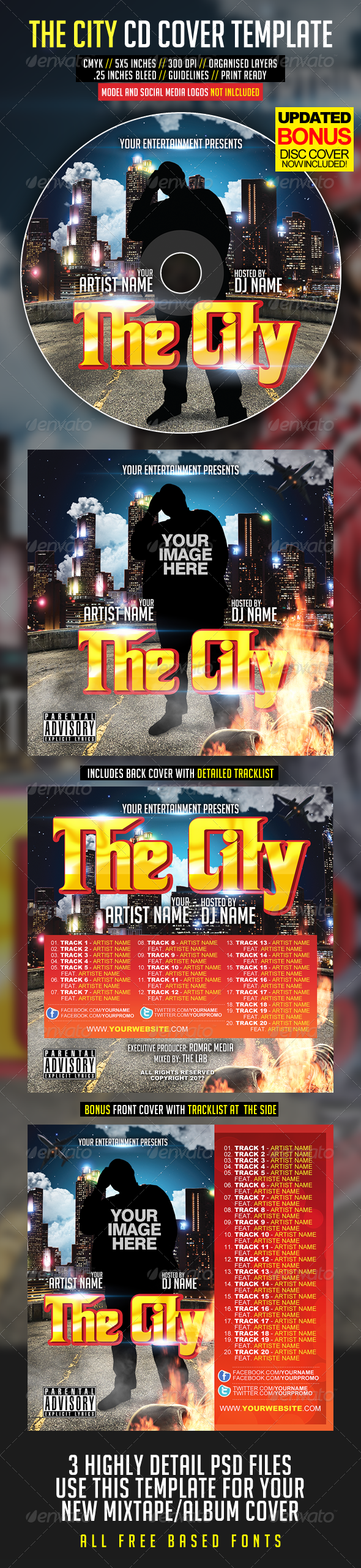 The City CD Cover - CD & DVD Artwork Print Templates