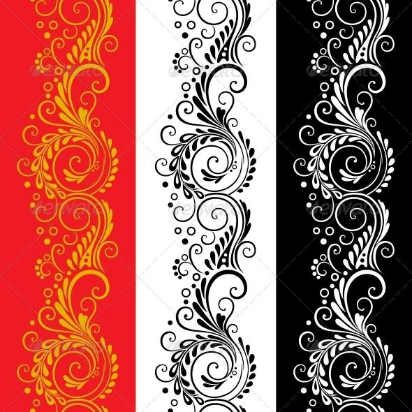 Three decorative flower seamless patterns - Patterns Decorative