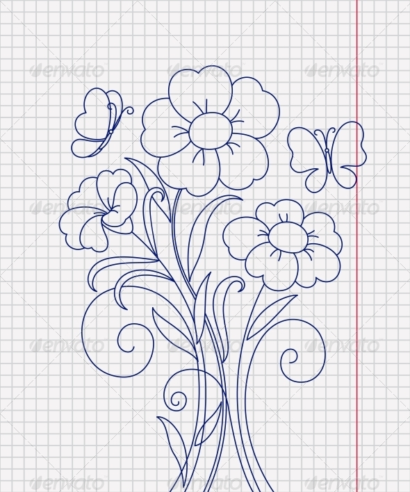Kidstyle Flower Sketch on the Paper Sheet - Backgrounds Decorative