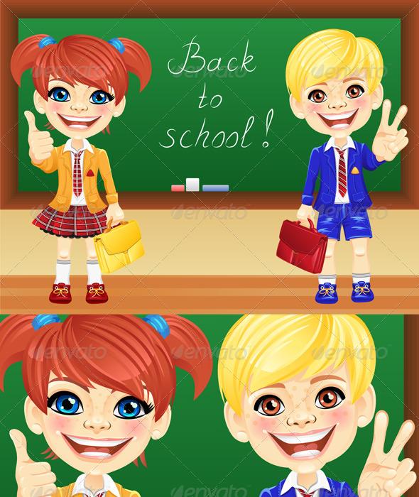 Vector Schoolchildren near Blackboard - People Characters