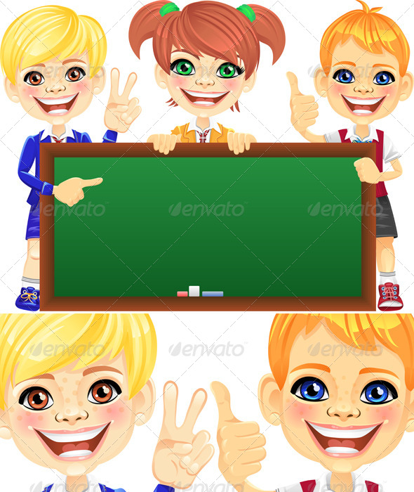 Vector Smile Kids with Banner Blackboard - People Characters