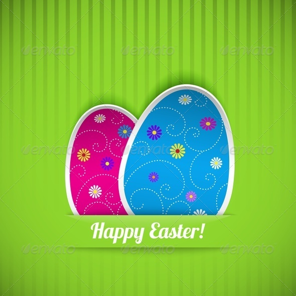 Easter Card with Two Eggs - Miscellaneous Seasons/Holidays