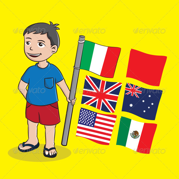 Boy and Flag - People Characters