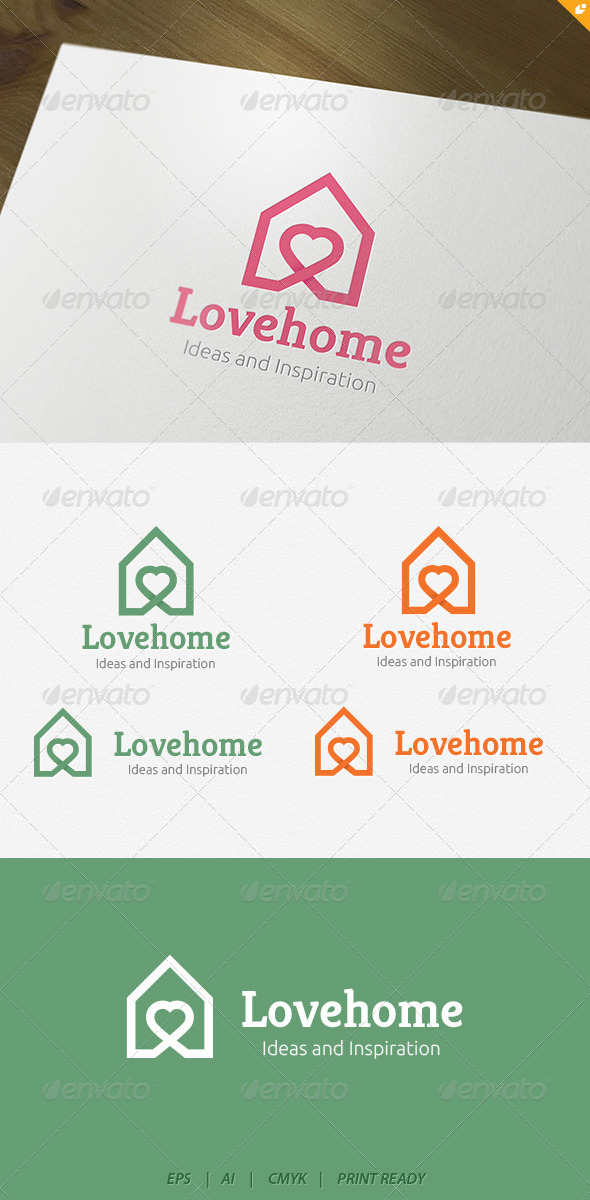 Love house Logo - Buildings Logo Templates