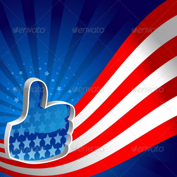 American Flag Thumbs Up - Backgrounds Decorative