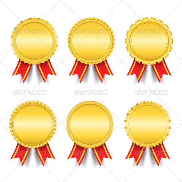Golden Medals - Objects Vectors