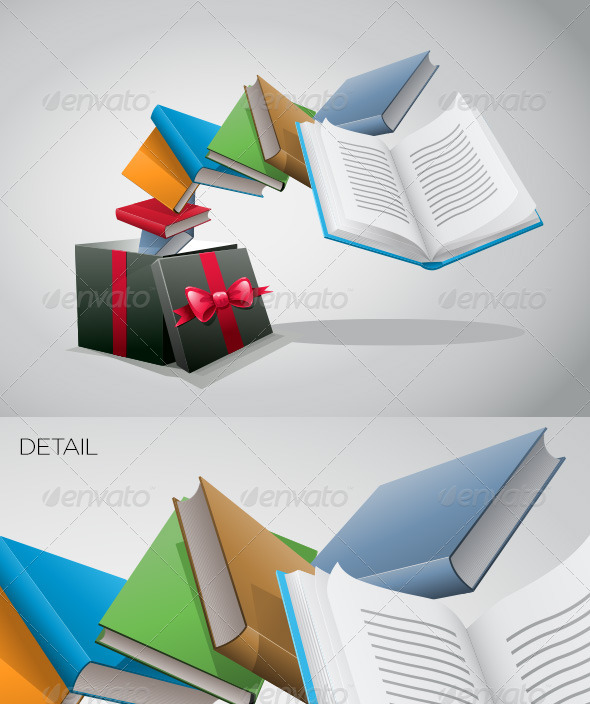 Gift Box And Books - Objects Vectors