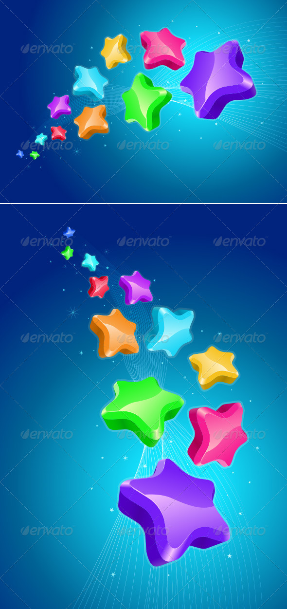 Colorful Stars - Backgrounds Decorative