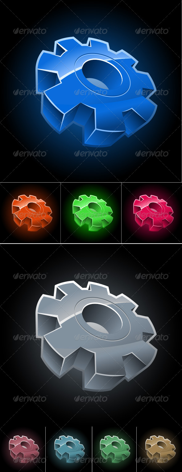 Gear Wheel Symbol Set - Man-made Objects Objects