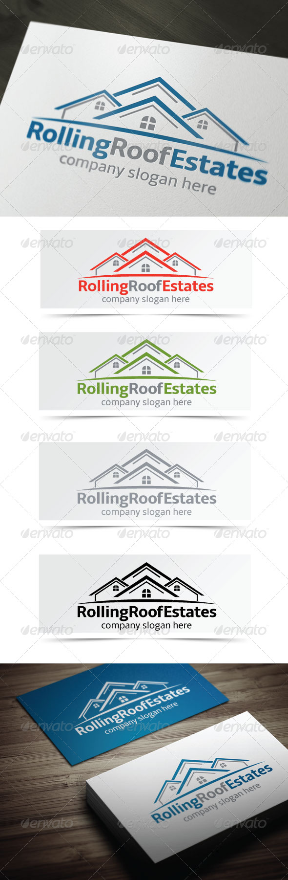 Rolling Roof Estates - Buildings Logo Templates