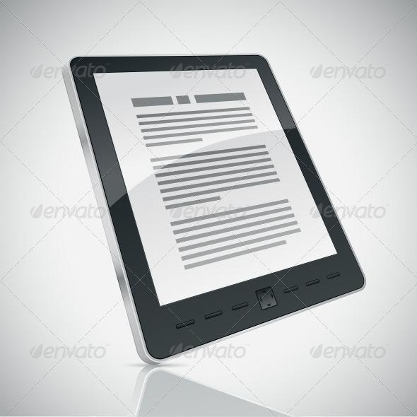 E-book Reader - Objects Vectors
