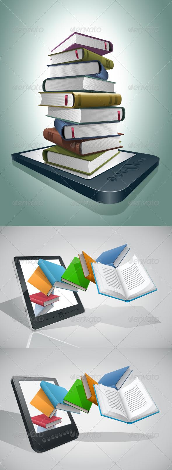 E-book Reader And Books Collection - Technology Conceptual