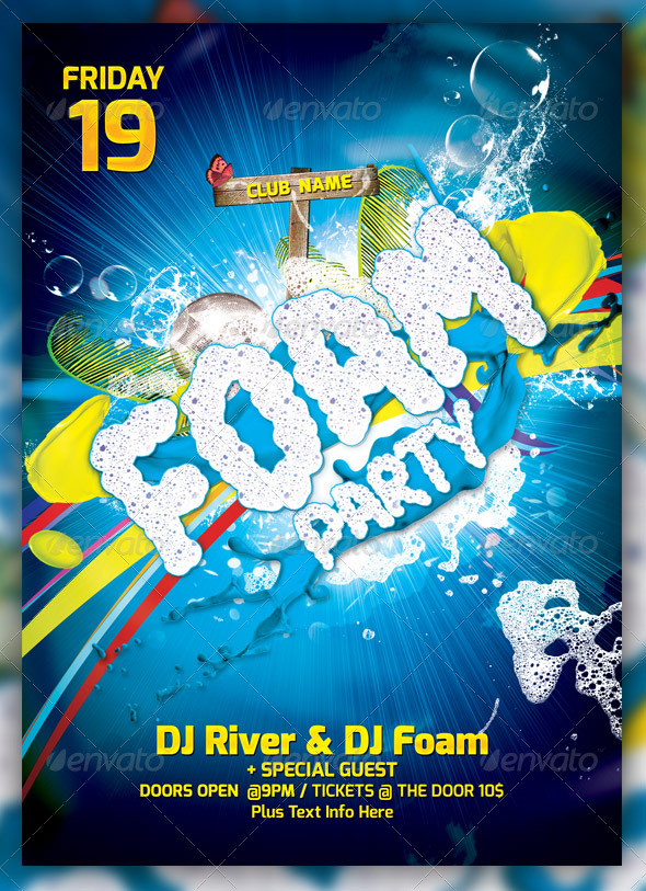 Foam Party Flayer Template - Events Flyers