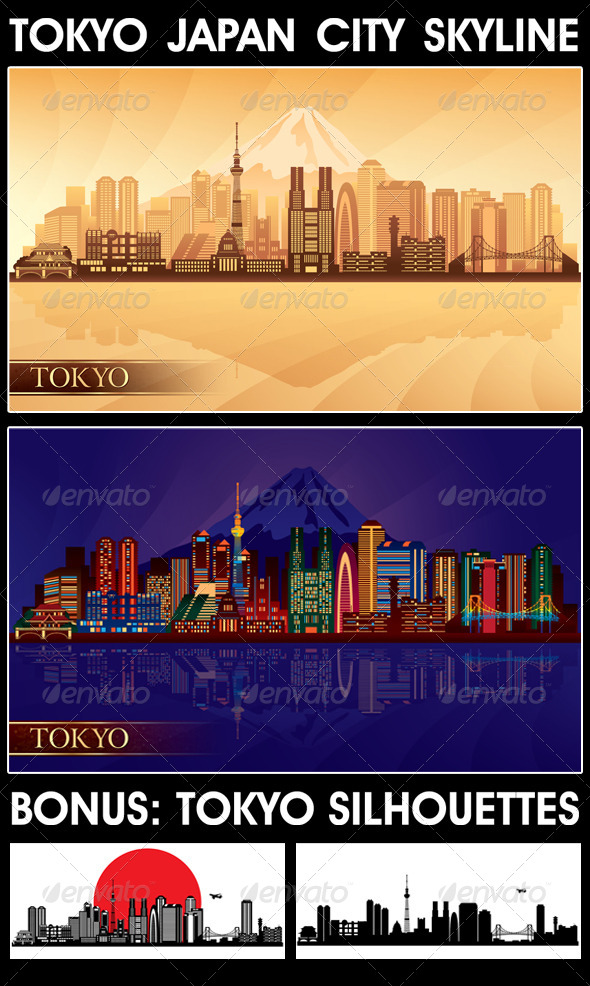 Tokyo Japan City Skyline Silhouettes Set - Buildings Objects