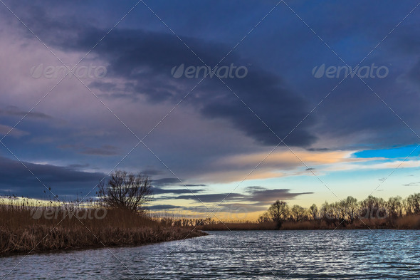 sunrise in Danube Delta, Romania - Stock Photo - Images