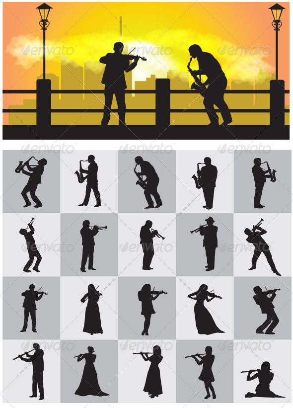 Musician Silhouettes - People Characters