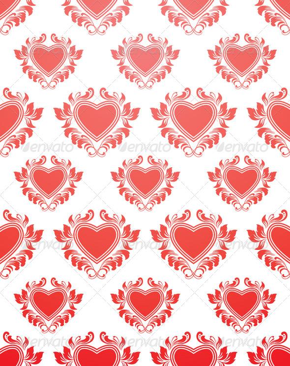 Red Heart Pattern - Patterns Decorative