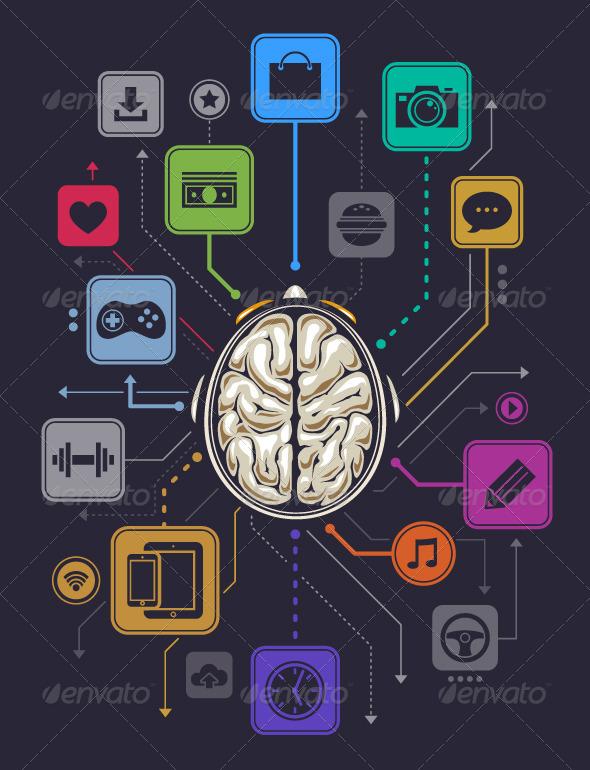 Brain Activity Infographics - Vectors