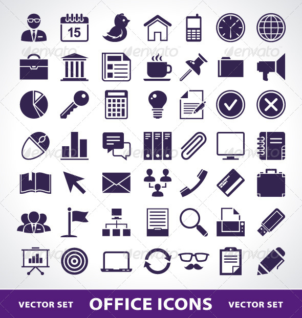 Simple Office Life Icons - Vectors