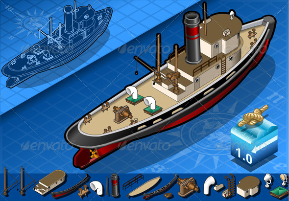 Isometric Old Tugboat - Objects Vectors