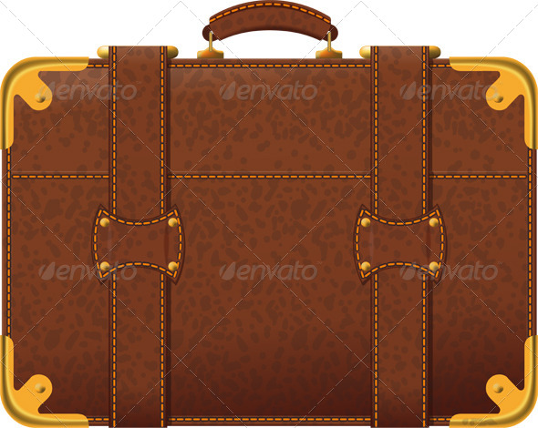 Brown Suitcase - Man-made Objects Objects