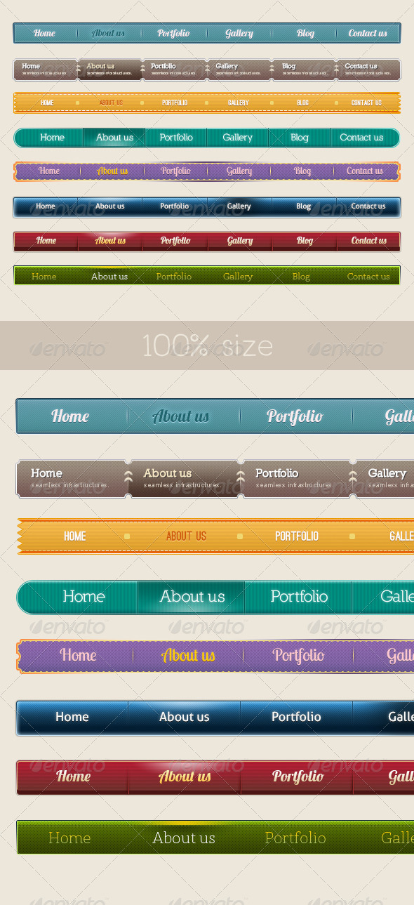 8 Style Navigation Bars - Navigation Bars Web Elements