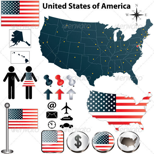 Map of USA - Travel Conceptual