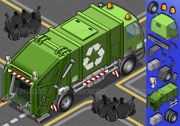 Isometric Garbage Truck in Rear View - Objects Vectors