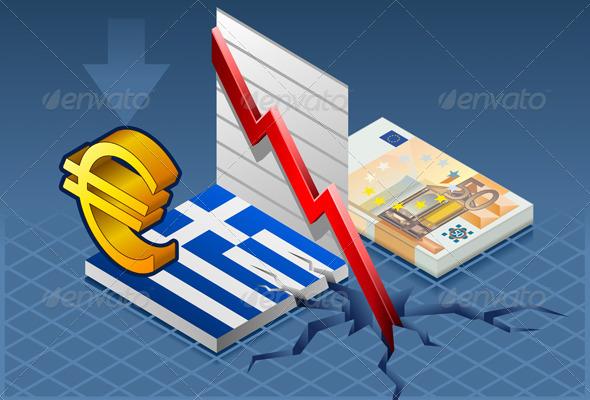 Isometric Greece Crisis - Conceptual Vectors