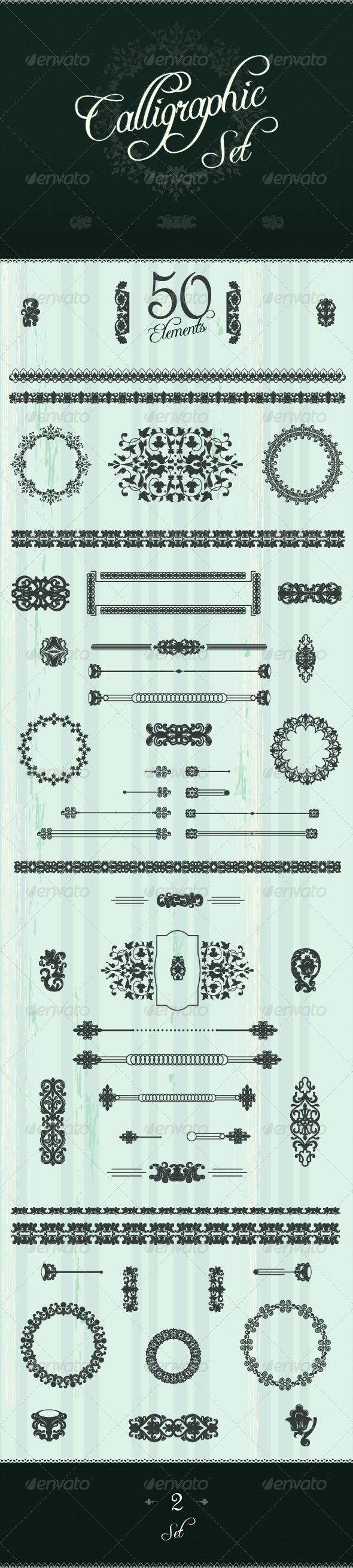 Art Calligraphic Design Set - Flourishes / Swirls Decorative