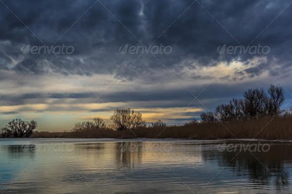 sunrise in Danube Delta, Romania - Stock Photo - Images